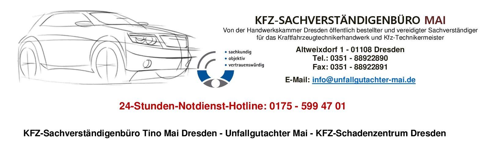 KFZ-Sachverständigenbüro Tino Mai Dresden – Unfallgutachter Mai – KFZ-Schadenzentrum Dresden